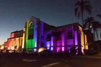Church Lit Up with Rainbow Light